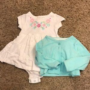 Baby sun dress and cardigan